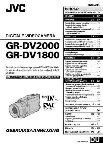 JVC GR-DV1800 Video Camera download manual for free now