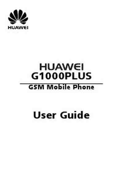 HUAWEI G1000 PLUS Mobile phone download manual for free