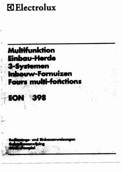 ELECTROLUX EON398B Oven download manual for free now