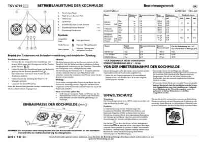 BAUKNECHT TGV 6730 IN Hob download manual for free now