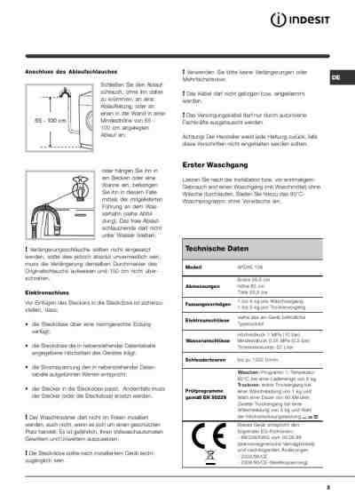 INDESIT WIDXE 126 DE Washer-dryer download manual for free