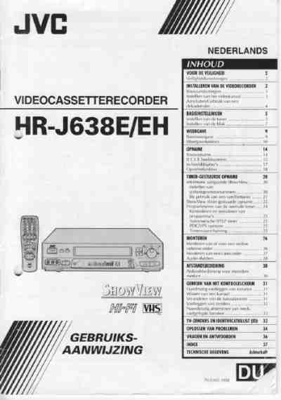 JVC HR--J638 Video Recorder download manual for free now