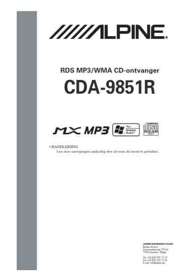 ALPINE CDA 9851 Car radio download manual for free now