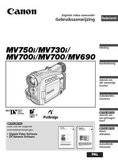 CANON MV700 Video Camera download manual for free now