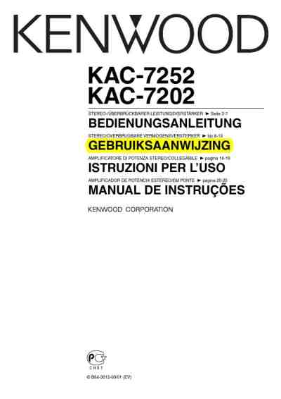 KENWOOD KAC-7202 Car radio download manual for free now