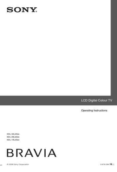 SONY KDL-32L4000 TV/ Television download manual for free