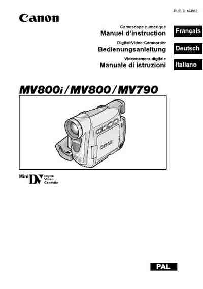 CANON MV800 Video Camera download manual for free now