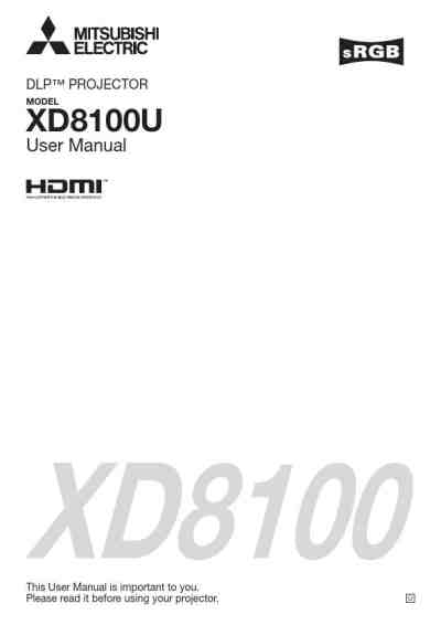 MITSUBISHI XD8100U Projector download manual for free now