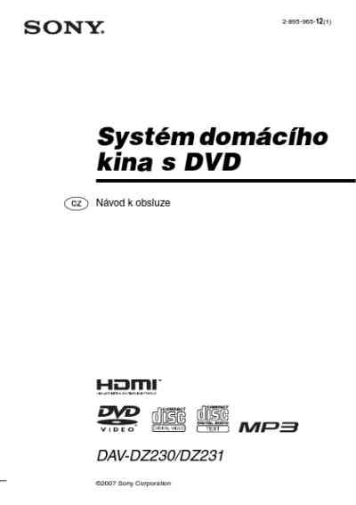 SONY DAV DZ230 Home theater download manual for free now