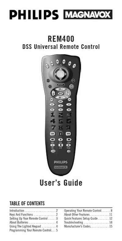 PHILIPS REM400 Remote commander/ Remote control download