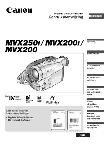 CANON MVX200 CAMCORDER download manual for free now
