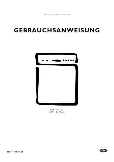 ELECTROLUX GA911SLITC.3SWSP Dishwasher download manual for