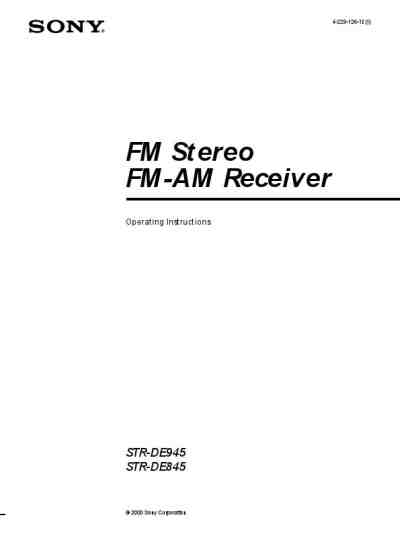 SONY STRDE945 Receiver download manual for free now