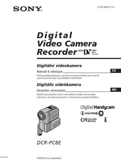 SONY DCR-PC8E Video Camera download manual for free now
