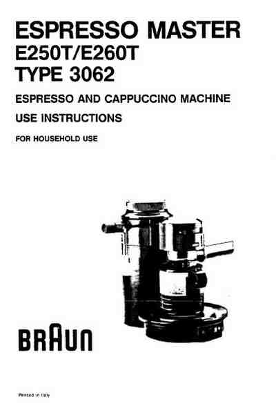 BRAUN E 250 Coffee maker download manual for free now