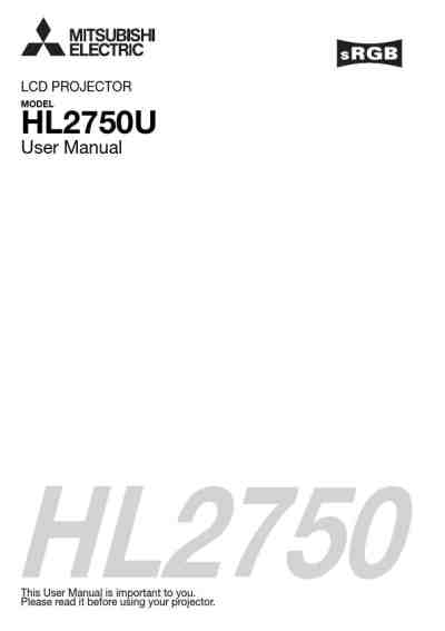 MITSUBISHI HL2750U Projector download manual for free now