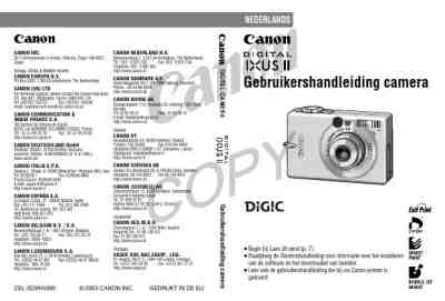 CANON DIGITAL IXUS II The camera/ Camera download manual