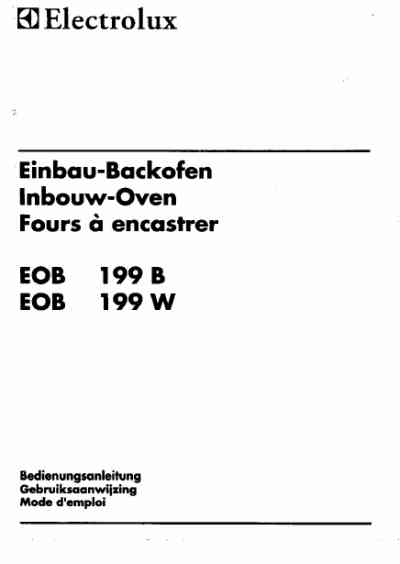 ELECTROLUX EOB199W Oven download manual for free now
