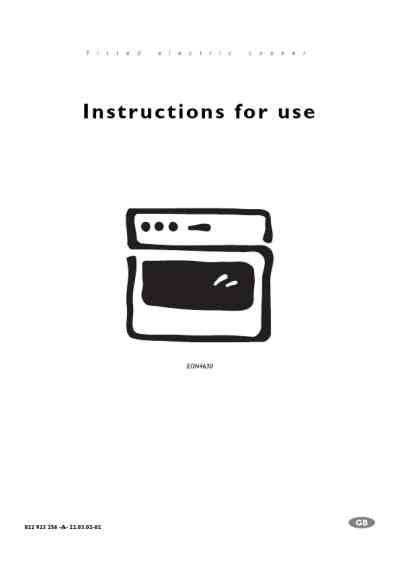 ELECTROLUX EON4630XELUXEURO Oven download manual for free