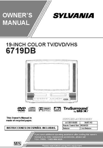 SYLVANIA 6719DB TV/ Television download manual for free