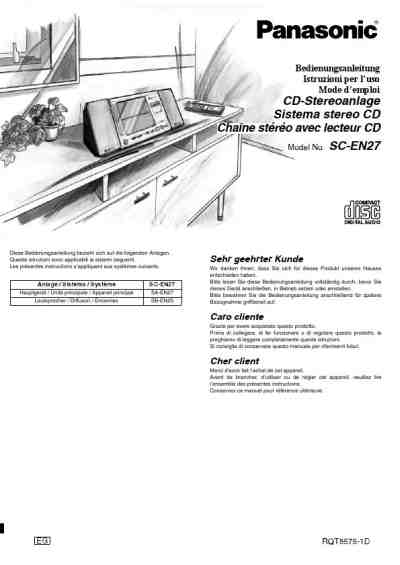 PANASONIC SC EN 27 EG S HiFi system download manual for