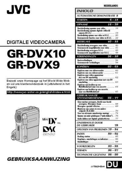 JVC GR-DVX9 Video Camera download manual for free now