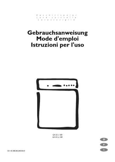 ELECTROLUX GA55L100SW Dishwasher download manual for free