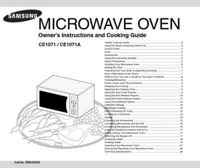SAMSUNG CE1071A Microwave oven download manual for free