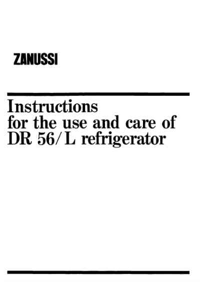 ZANUSSI DR56LB Fridge/ Refrigerator download manual for