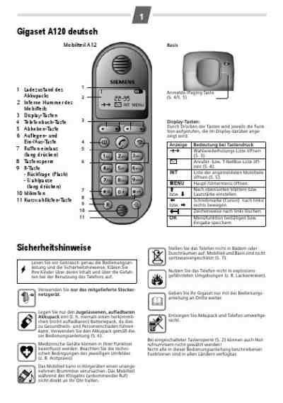 SIEMENS A 120 Mobile phone download manual for free now