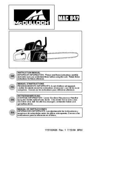 MCCULLOCH P 542E Tools download manual for free now