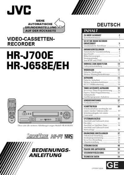 JVC HR J 700 Video Recorder download manual for free now