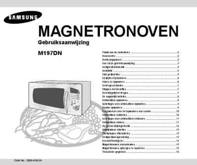 SAMSUNG M 197 DN Microwave oven download manual for free