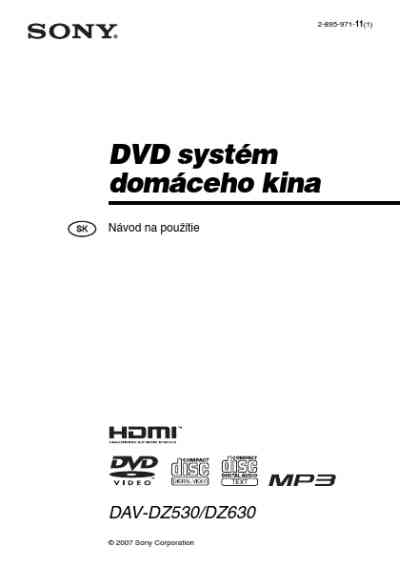 SONY DAV DZ530 Home theater download manual for free now