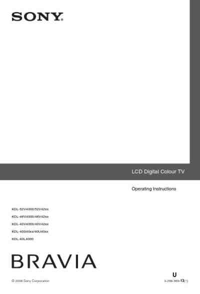 SONY BRAVIA KDL-40S4000 TV/ Television download manual for