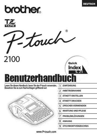 BROTHER P-TOUCH 2100 others download manual for free now