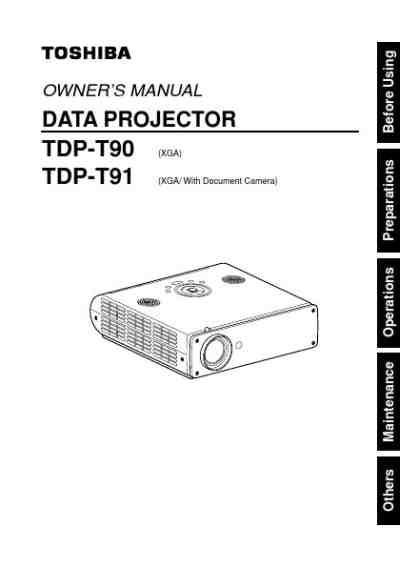 TOSHIBA TDP-T90 Projector download manual for free now