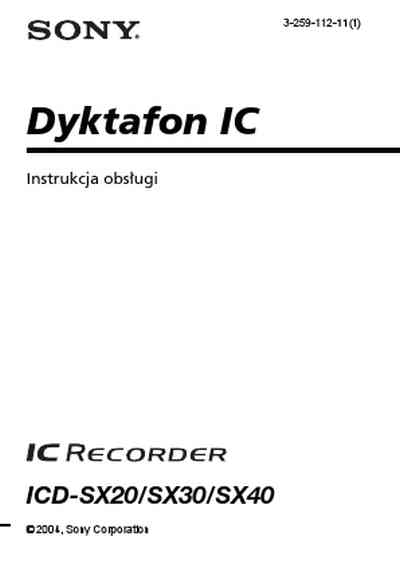 SONY ICD-SX20 Dictaphone / microphone download manual for