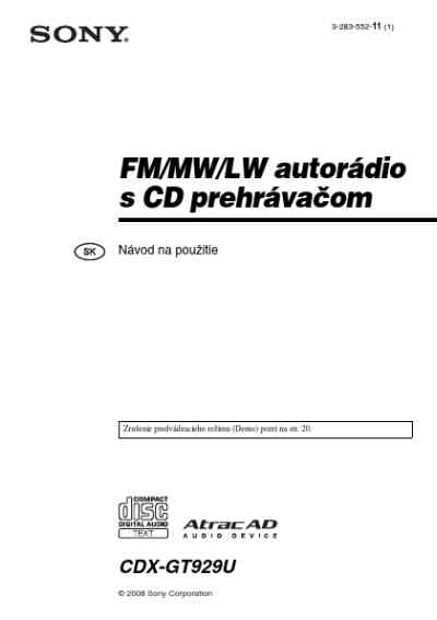 SONY CDX GT929U Car radio download manual for free now