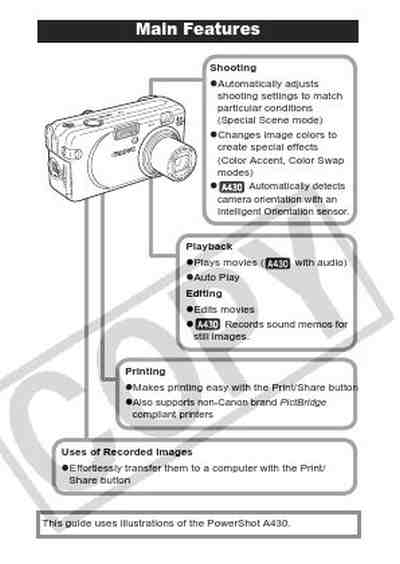 CANON POWERSHOT A420 The camera/ Camera download manual