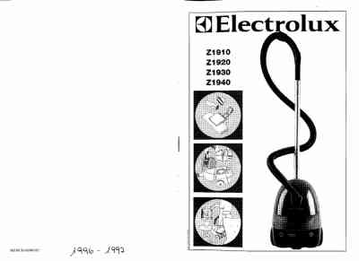 ELECTROLUX Z1910 Vacuum cleaner download manual for free
