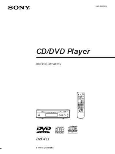 SONY DVP F 11 DVD/ Blu-ray player download manual for free