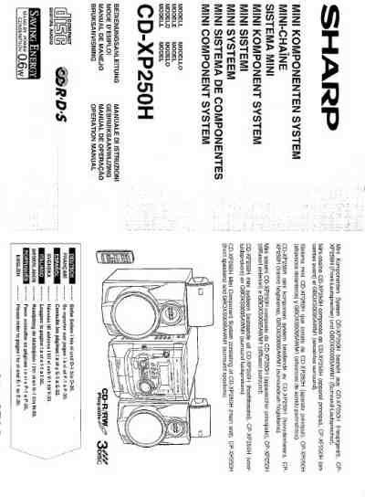 SHARP CD XP 250 H HiFi system download manual for free now