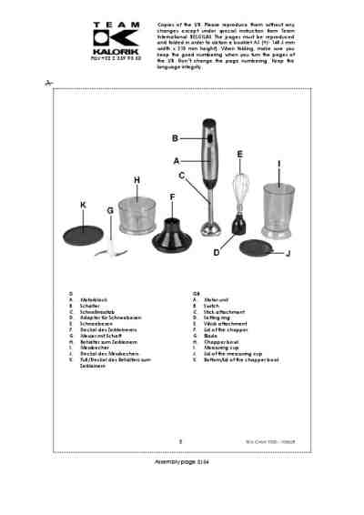 KALORIK TKG CMM 1000 Mixer download manual for free now