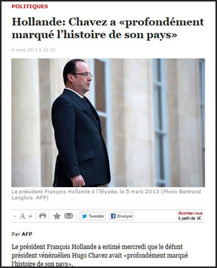 Complètement à côté de la plaque : telle a été l'attitude minable, et non dénuée de venin, de François Hollande face à la mort d'Hugo Chávez. C'est, une nouvelle fois, une véritable faute lourde diplomatique et une trahison des intérêts supérieurs de la France et du peuple français.
