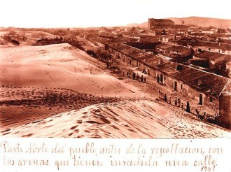 Dunes threatening the village of Guardamar, 1901