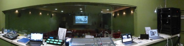 Salón de Actos control room at la Senieta during the Drama Group show Noel