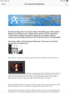 The Arts Society Marina Alta First Meeting 2020 - 6 February @ Salones Canor