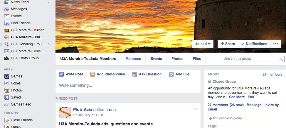 Facebook closed group membership keeps growing – U3A Moraira-Teulada