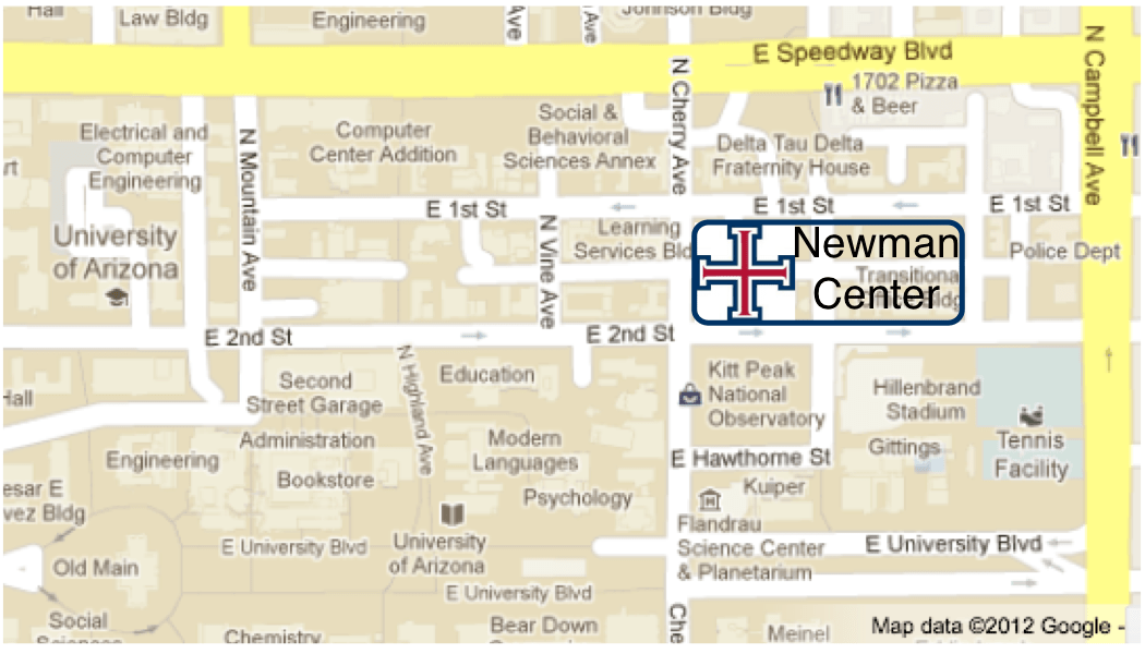 Map Of The University Of Arizona.St Thomas More Catholic Newman Center Directions And Parking